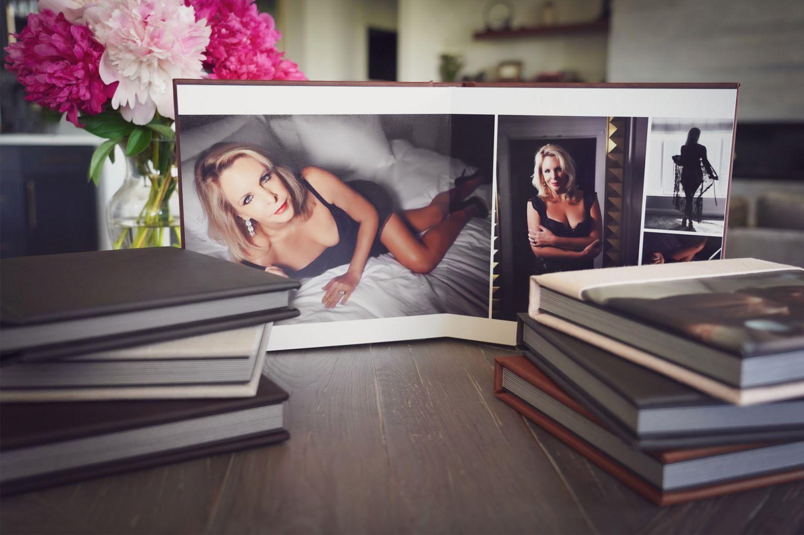 black book with boudoir photos
